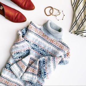 Vintage Nordic boho fair isle turtle neck sweater
